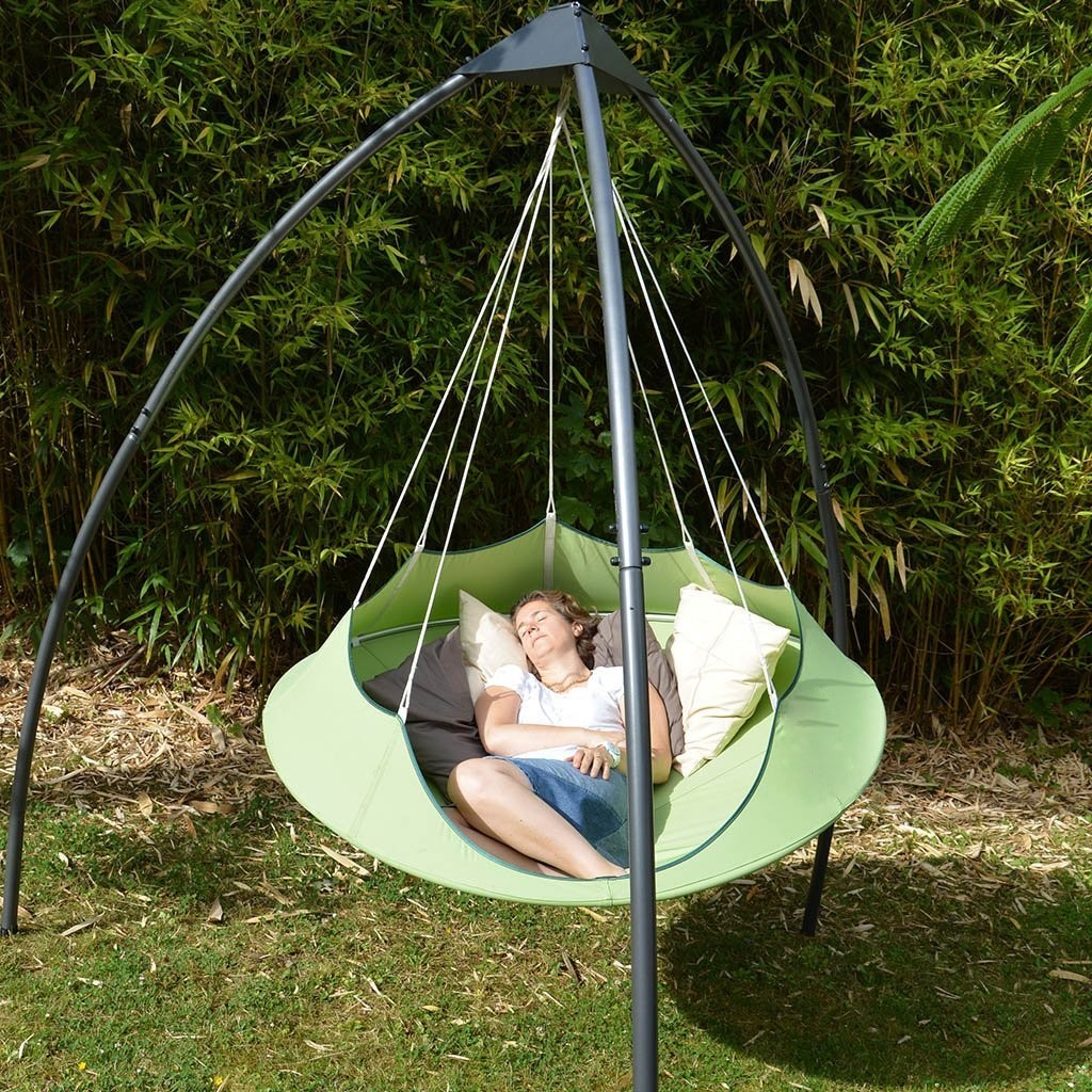 swing chair with stand malaysia leather and a half canada cozy modern hammock couture outdoor
