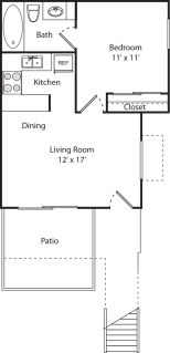 1 Bed / 1 Bath / 450 sq ft / Deposit: $350 / $880