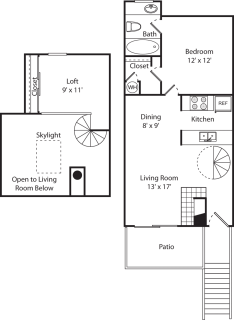 1 Bed / 1 Bath / 800 sq ft / Rent From: $1,020-1,055
