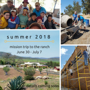 mission trip dates June 30-July 7, 2018