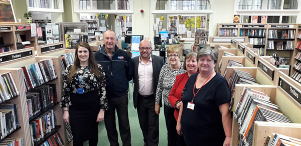 Photo: Left to Right  Sarah Gristwood, Coventry City Council; Ian Bowes and Adrian Davidson, Watkin Jones; Denise Bird, Finham library; Alison Fox, Cheylesmore library; Ann Wheatley, Earlsdon library;