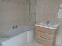Light Oak Vanity Bathroom Furniture Beige Bathroom Tiles