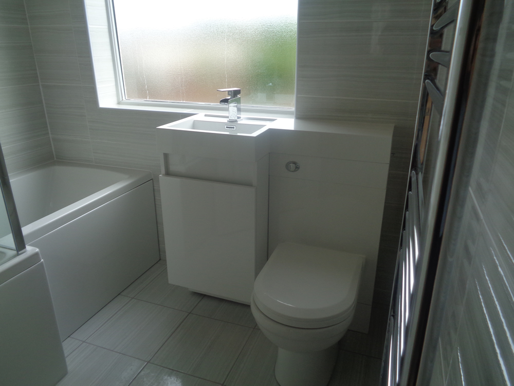 Shower room to Bathroom Conversion with L Shaped Shower Bath