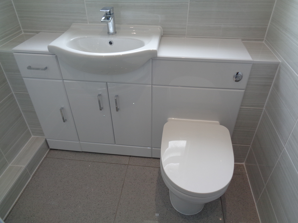Wall to Wall Bathroom Storage with Quadrant Shower Coventry