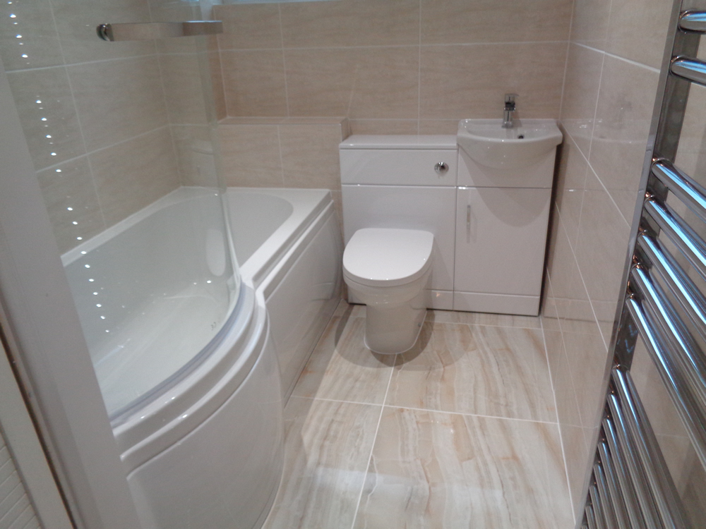 Bathroom With Shower Bath And Space Saving Basin With Storage