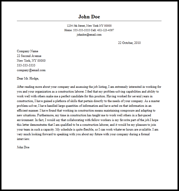 Professional Construction Laborer Cover Letter Sample