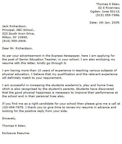Teacher Cover Letter Examples  CoverLetterNow