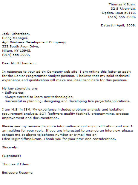 Senior Financial Analyst Cover Letter Budget