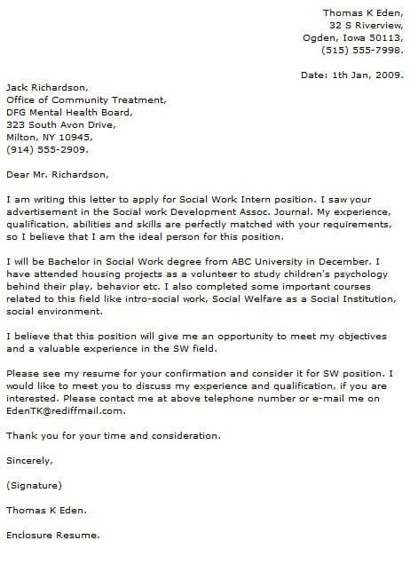 Social Work Cover Letter Examples  CoverLetterNow