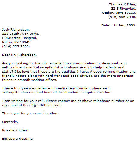 Medical Cover Letter Examples  CoverLetterNow