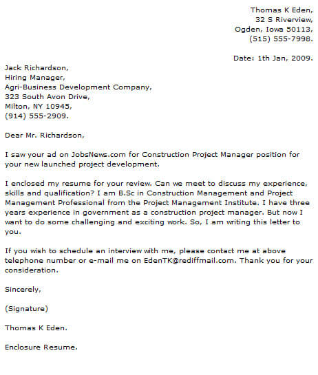 Project Manager Cover Letter Examples  CoverLetterNow
