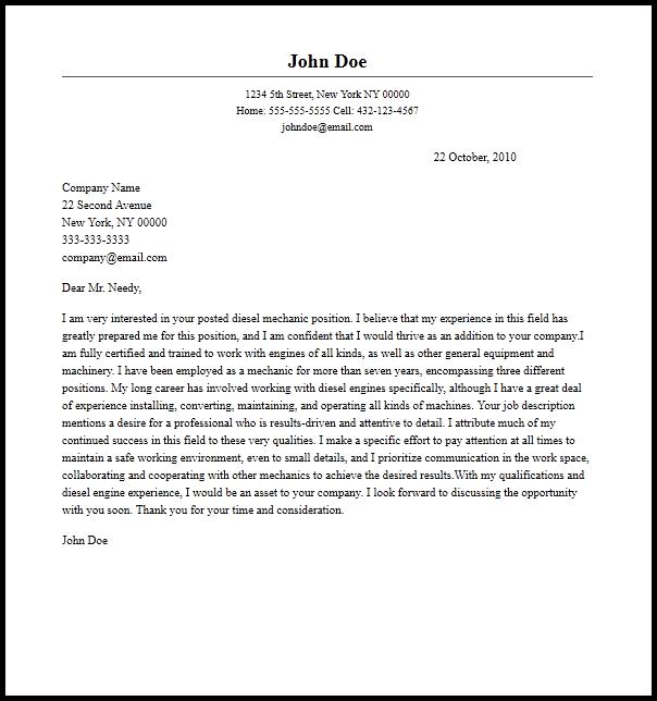 mechanical fitter resume cover letter