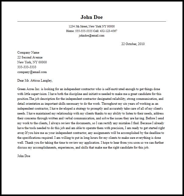 Cover Letter Independent Appraiser