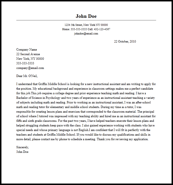 Professional Instructional Assistant Cover Letter Sample
