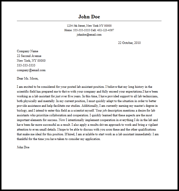 Professional Lab Assistant Cover Letter Sample  Writing