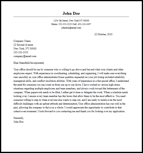 Professional Office Administrator Cover Letter Sample