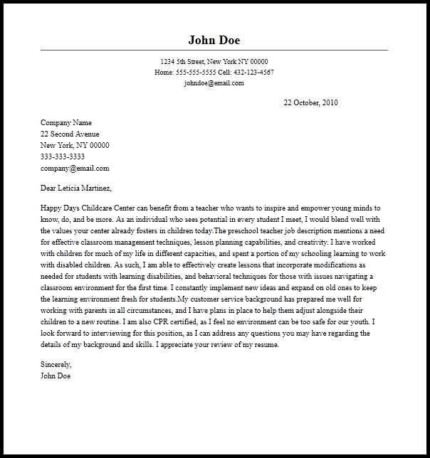 Professional Preschool Teacher Cover Letter Sample