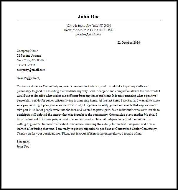 Professional Resident Assistant Cover Letter Sample