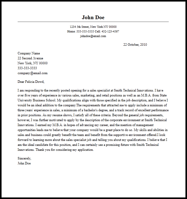 Professional Sales Specialist Cover Letter Sample