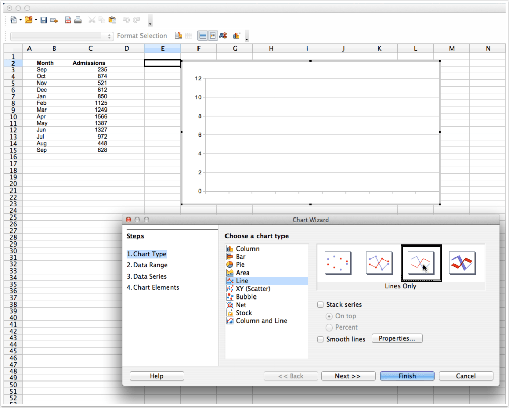 medium resolution of now we need to select the data range to use for the line graph in the wizard there is an option of either entering the data range by hand in the entry