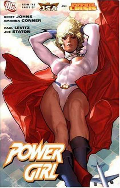 Bestselling Comics (2007) - Power Girl by Geoff Johns - Power Girl - Airplane - Red Cape - White Suit - Blonde Hair
