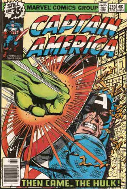 Captain America 230 - America - Shield - Fight - Impact - Hulk - Bob Layton