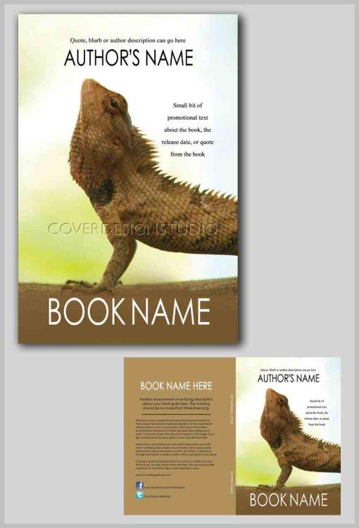 cool book cover upward facing iguana
