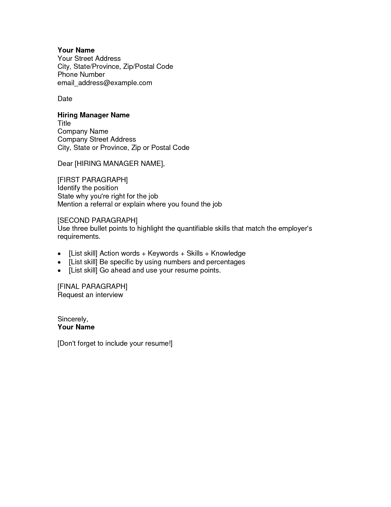 resume cover letter template - Cover Letter And Resumes