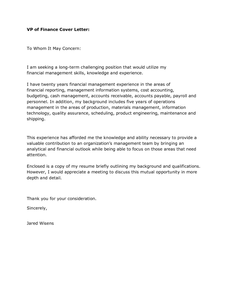 finance cover letter templates