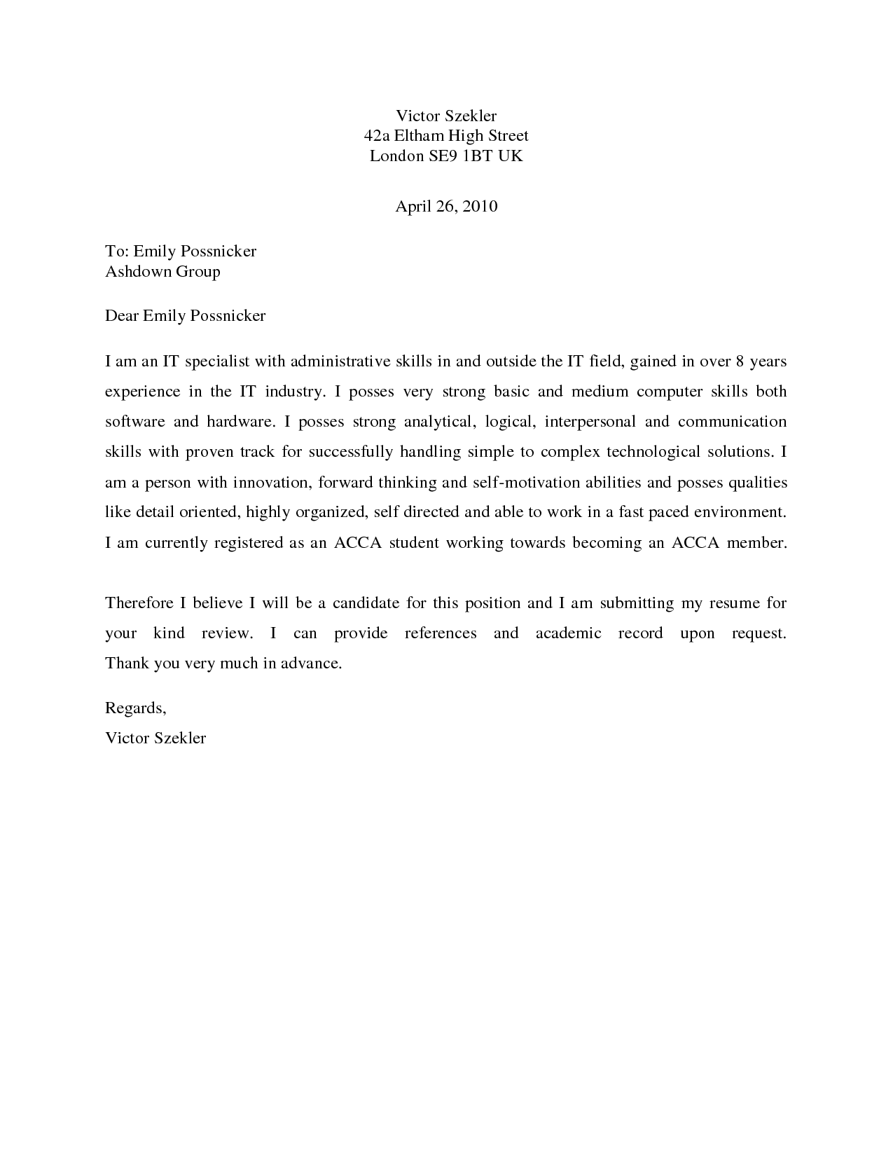 Quick Resume Cover Letter