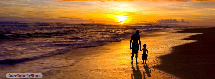 Cute And Simple Girl Wallpaper Father And Son Walking Sunset Beach Cover Photos For