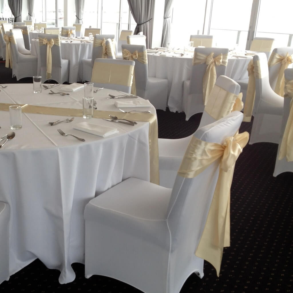Covers Decoration Hire  White Wedding Chair Covers for