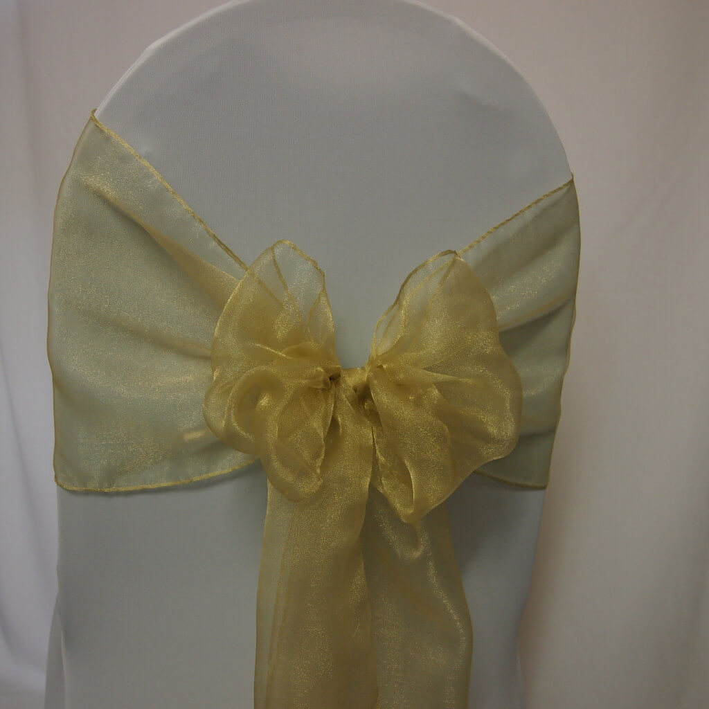chair covers with gold sash chairs and tables buffalo ny decoration hire organza