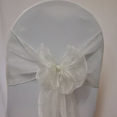 Ivory Wedding Chair Covers Hire Hanging Indoor Decoration Sash Organza