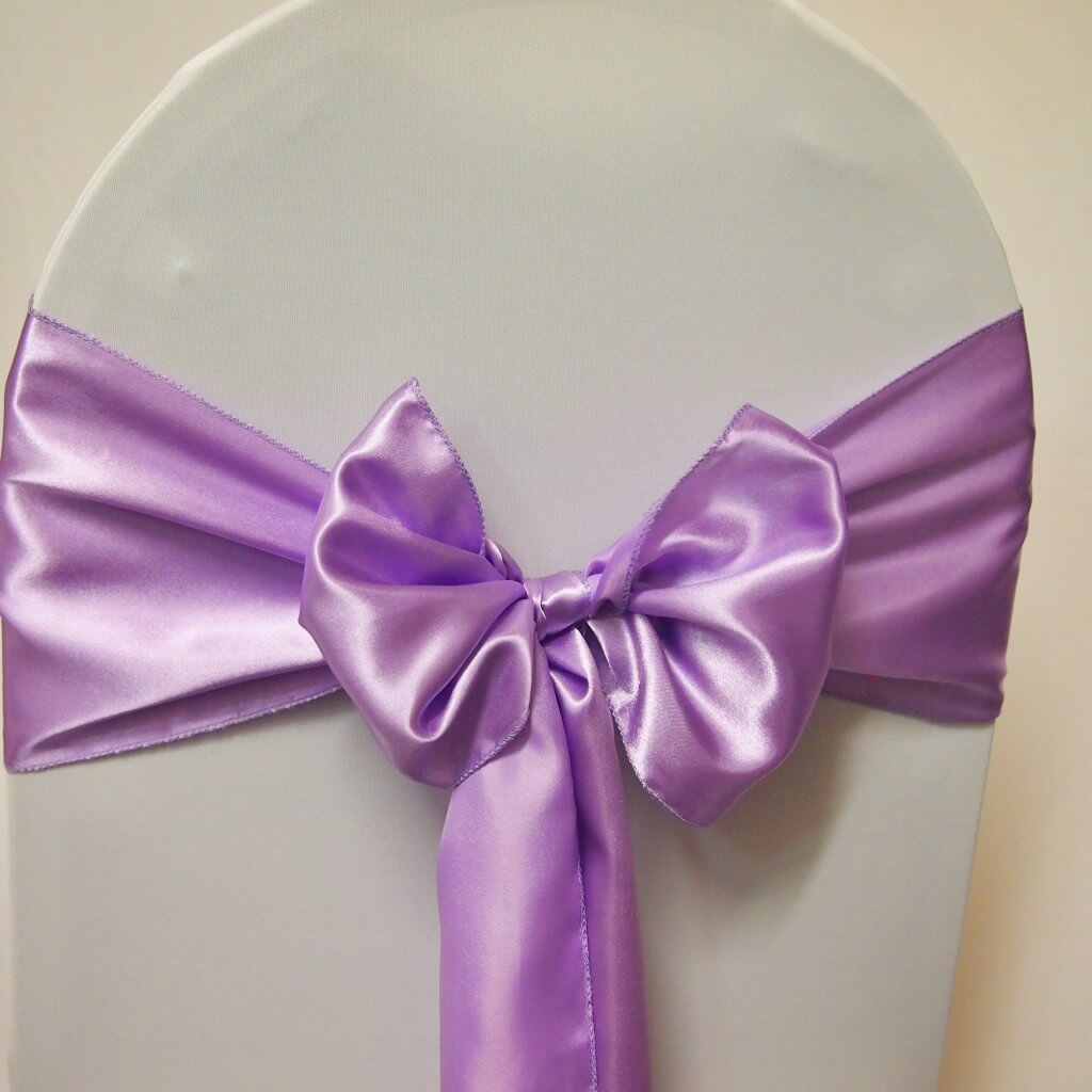 wedding chair covers and sashes for hire high top table chairs set decoration | sash purple satin lilac -