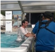 Edmonton Mayor Don Iveson takes a swim under Covers in Play SpaRoom Enclosure