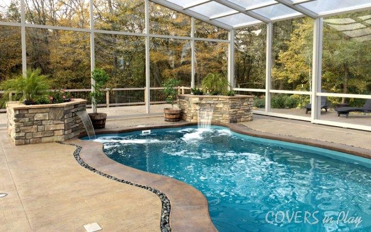 Water fall in Pool Enclosure