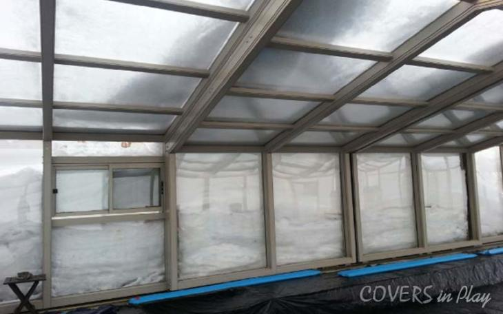 Pool Enclosure with snow over roof