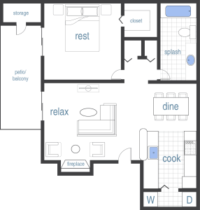1 Bed / 1 Bath / 600 sq ft
