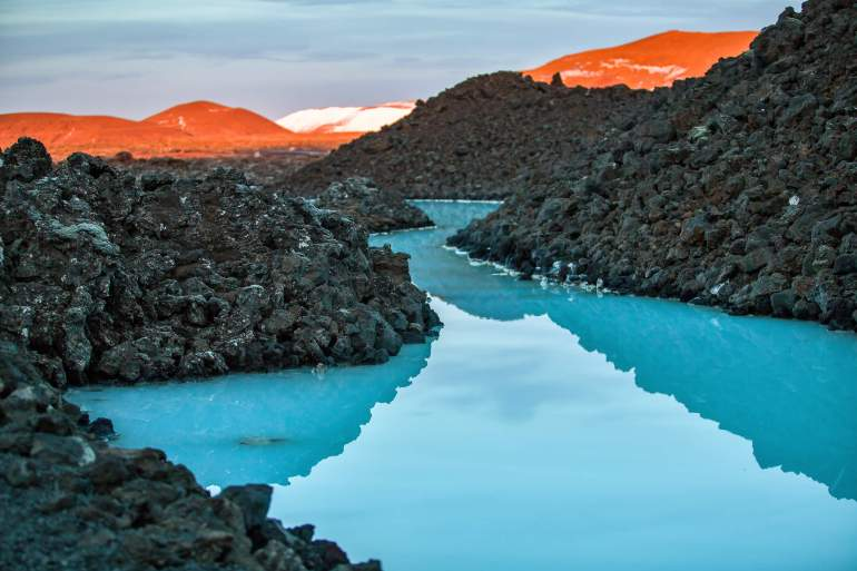 A blue lagoon in Iceland during summer.
