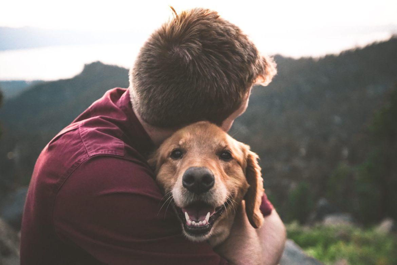 Die häufigsten Hunde-Haftpflichtschäden: Herrchen umarmt seinen Hund, im Hintergrund sind Bäume und Wolken zu sehen, das Herrchen schaut weg, der Hund in die Kamera und sieht glücklich aus