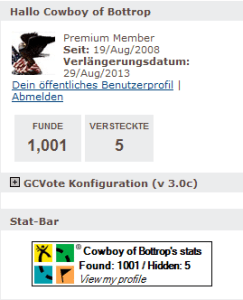 Geocaching-Stats, 1001 Cache