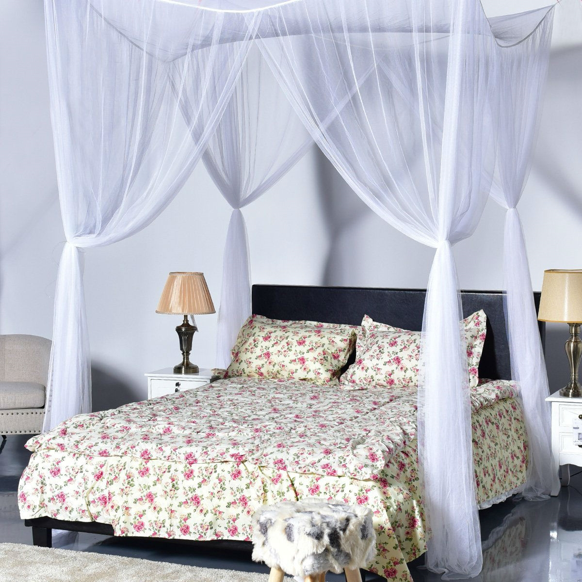 white 4 post bed princess canopy net mosquito netting for full or queen size beds