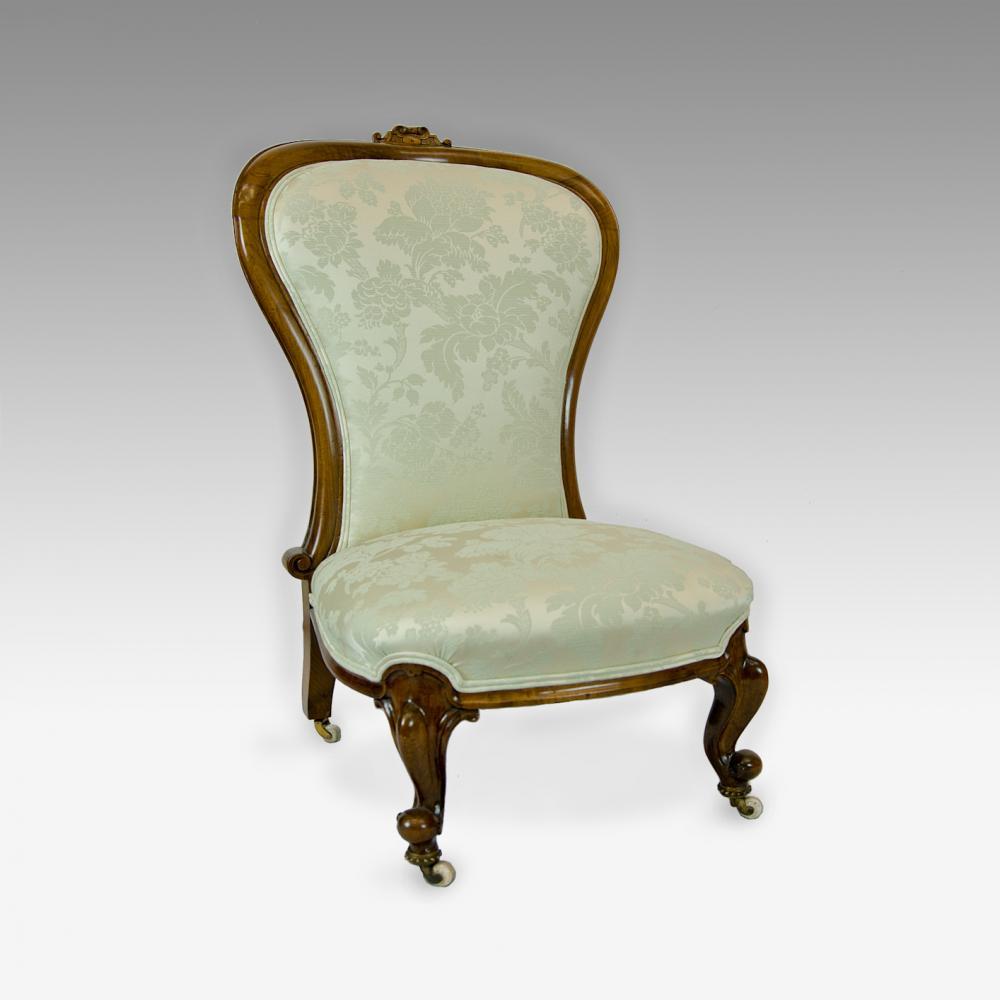cow print chairs slipper chair cover walnut victorian nursing - antique furniture