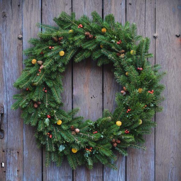 A traditional Christmas Wreath - The Viscount - Farm Shop