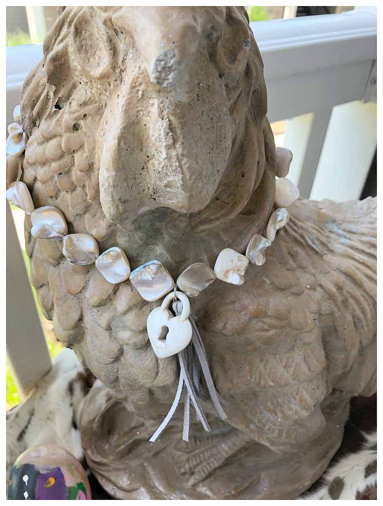 Mother of Pearl Shell Silver Leather Tassel  White