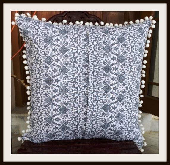 Grey Moroccan Design on White Pom Pom Embellished Pillow