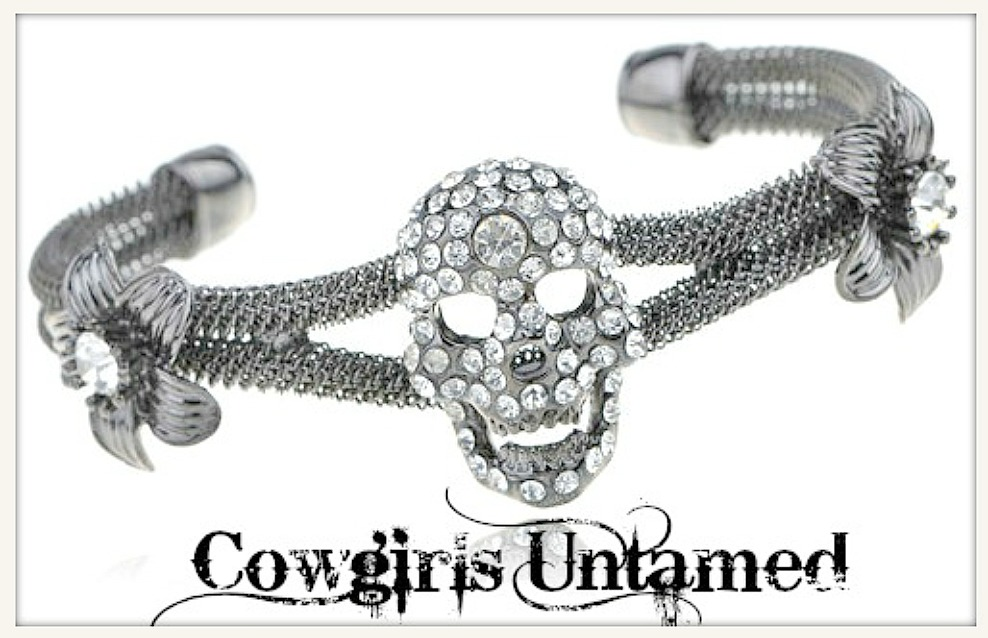 COWGIRL GYPSY Fur with Black Sequin Skull N' Crossbones on