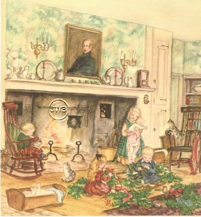Tasha Tudor Card Christmas Scene 1940s Cow Hampshire