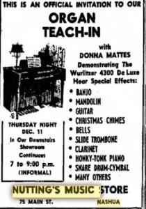 1969 advertisement in Nashua Telegraph for Nuttings Music Hall on Main Street
